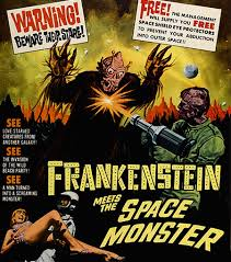 L'affiche du film Frankenstein meets the Space Monster (1965), image empruntée au site Nanarland